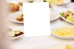 Blank event Guest Card on restaurant table Stock Photo