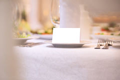 Blank event Guest Card on restaurant table Stock Photography