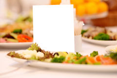 Blank event Guest Card on restaurant table Stock Photos