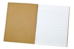 Blank exercise book. First page of a blank exercise book isolated on white background Stock Images