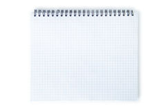 Blank exercise book isolated on white. Stock Photo