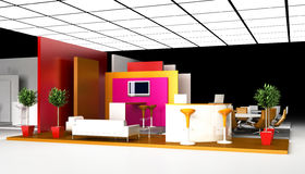 Blank exhibition booth, 3d rendering Stock Photos
