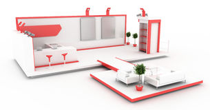 Blank exhibition booth. Exhibition stand, original three dimensional illustration royalty free illustration