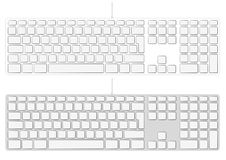 Blank extended aluminum keyboard input device Stock Photography