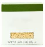 blank för etikettnudlar för ask 16oz orzo arkivbild