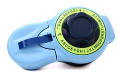 blank för etiketttillverkare för blå green text för flik Arkivbilder