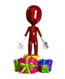 Blank Face With Gifts. Blank faced figure with Christmas or birthday gifts Royalty Free Stock Image