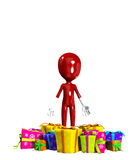 Blank Face With Gifts. Blank faced figure with Christmas or birthday gifts Stock Photo