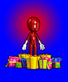 Blank Face With Lots Of Gifts. Blank faced figure surrounded by Christmas or birthday presents Royalty Free Stock Photos