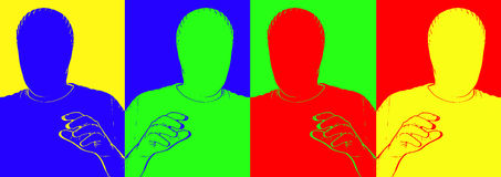 Blank Faces. Original computer illustration of a man with no face Stock Photo