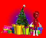 Blank Figure With Christmas Tree. Blank faceless figure with a Christmas tree and presents Royalty Free Stock Images