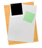 Blank file folder content. With polaroid picture frame Stock Photo