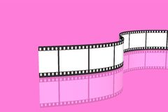 Blank film strip. Isolated over pink background Royalty Free Stock Photography