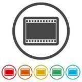 Blank film strip, 6 Colors Included. Simple vector icons set Royalty Free Stock Images