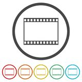 Blank film strip, 6 Colors Included. Simple vector icons set Royalty Free Stock Photography