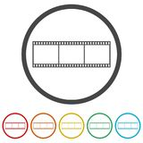 Blank film strip, 6 Colors Included. Simple vector icons set Stock Photos