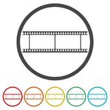 Blank film strip, 6 Colors Included. Simple vector icons set Royalty Free Stock Photo
