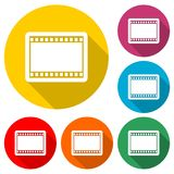 Blank film strip, film frame icon, color icon with long shadow. Simple vector icons set Royalty Free Stock Images