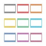 Blank film strip, film frame icon, color icons set. Simple vector icon Stock Photography