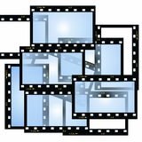 Blank film strip frame. Isolated on white Royalty Free Stock Photos