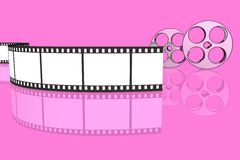 Blank film strip and reels. Isolated over pink background Stock Photos