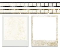 Blank film stripes and blank instant photo frames Stock Photography