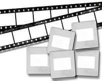 Blank film stripes and blank slide photo frames Royalty Free Stock Images