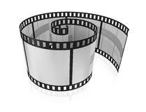 Blank film. Twisted blank film for a camera on a white background Royalty Free Stock Image