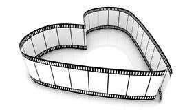 Blank Filmes Heart. 3d blank films heart over white background Royalty Free Stock Photo