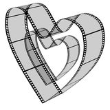 Blank filmes heart. 3d blank films heart over white background Royalty Free Stock Photos