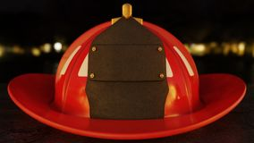 Blank Firefighter Helmet on asphalt. Closeup of blank firefighter helmet shield set on asphalt with city lights in the background. 3D Illustration Royalty Free Stock Photos