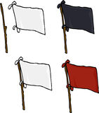 Blank Flags Over White Stock Photo