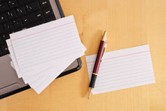 Blank Flash Cards. With Pen and laptop Stock Images