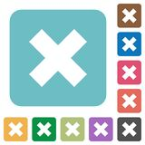 Flat cancel icons on rounded square color backgrounds