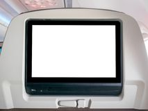 Blank In-Flight Entertainment Screen, Blank LCD Screen in Airplane. Blank LCD Screen in Airplane royalty free stock photos