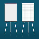 Blank flip chart. Whiteboard and empty paper, presentation and seminar, vector illustration Royalty Free Stock Images