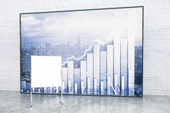 Blank flipboard and forex chart. Forex chart on city background and blank flipboard on white brick wall. Mock up, 3D Rendering Stock Images
