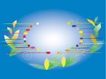 Blank floral on blue background. Illustration vector illustration