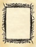 Blank floral frame. Blank floral victorian frame on sepia toned paper with edge burning Royalty Free Stock Photos