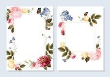 Blank floral frame card illustration royalty free illustration