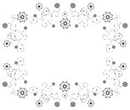 Blank floral pattern frame on white background Royalty Free Stock Photos