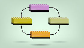 Blank flow diagram. Business Diagram made of plastic bricks. It is blank just need to add text stock illustration