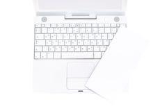 Blank flyer on laptop Stock Image