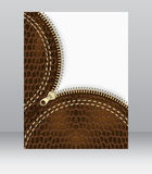 Blank flyer with a leather texture and zipper for your creative design,  background Stock Photos