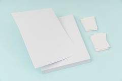 Blank flyer poster, brochure mockup,A4, US-Letter, with business Royalty Free Stock Photography