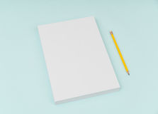 Blank flyer poster, brochure mockup,A4, US-Letter, with pencil Royalty Free Stock Photo