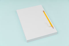Blank flyer poster, brochure mockup,A4, US-Letter, with pencil Stock Photography