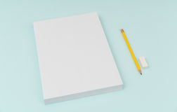 Blank flyer poster, brochure mockup,A4, US-Letter, with pencil Royalty Free Stock Images
