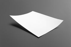 Blank flyer poster isolated on grey. To replace your design or message Stock Image