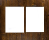Blank flyer poster on wood to replace your design. Stock Image